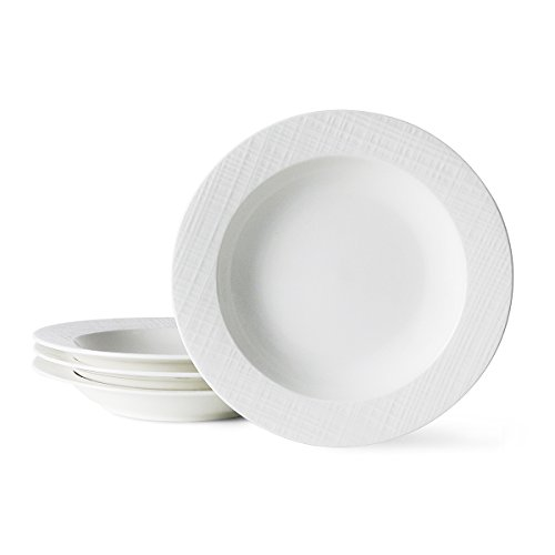 Porcelain Rim Soup/Pasta Bowls - Set of 4 - 8 inches, White - by Sweese (Pasta Plates And Bowls Set compare prices)