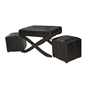 Global Distinctions Cross-Leg Bench with 2 Cubes, Brown Faux Leather
