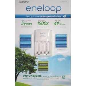 Sanyo Eneloop Ni-MH Charger and 8 Rechargeable AA and 4 Rechargeable AAA Batteries