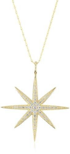 Mizuki 14k Gold and Diamond Large Starburst Charm Necklace