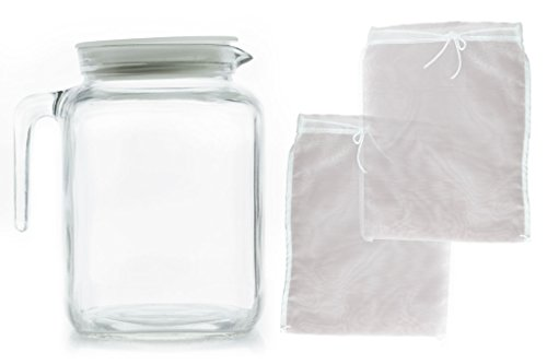 Teikis Glass Jug Pitcher White Lid (67 3/4oz) + 2 Pack Reusable Fine Mesh Nut Milk Bags Cheesecloth (10
