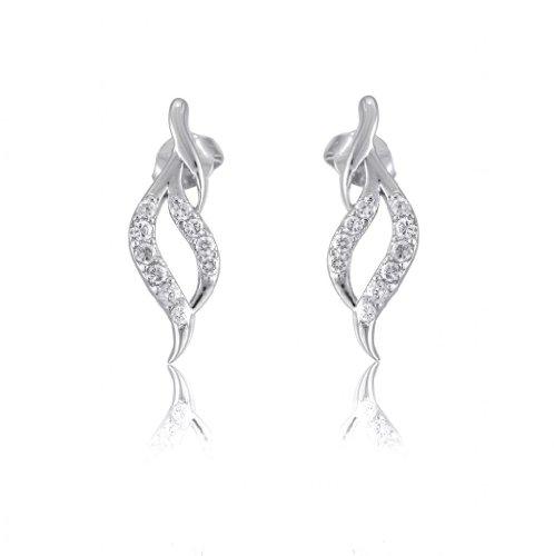 Lifestyle Infinity Lifestyle Clear Cubic Zirconia Swirl Earrings For Women (E204004R) (Transperant)