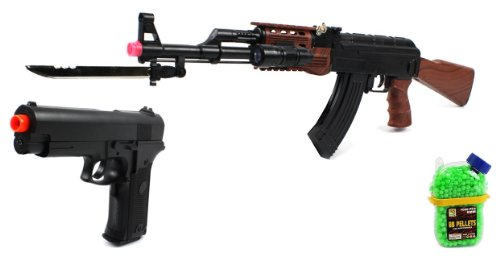(Combo) Velocity Airsoft Ak-47 585+ Spring Airsoft Gun Fps-200 + Special Ops Electric Blowback Airsoft Pistol Full Auto Fps-180 + 1000 Bb'S Clip-On Holster Container