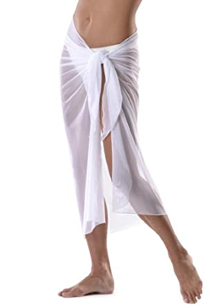Long White Mesh Swimsuit Sarong Cover up with Built in