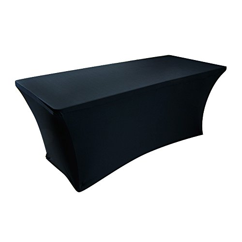 Houseables Fitted Tablecloth Cover, 6 ft Black, Table Cloth Skirts, Rectangular, Polyester/Spandex, Elastic, Stretchable Linen, Stain & Wrinkle Proof, for Folding Tables, Wedding, DJ, Events (Custom Table Cloths compare prices)