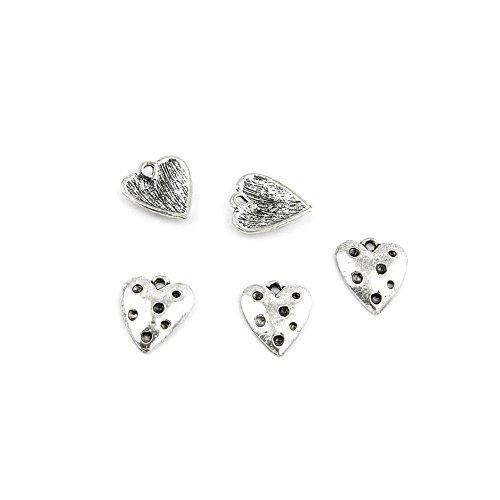 110 Pieces Jewelry Making Charms Retro Silver Tone for Necklace Pendant Bracelet Findings Vintage Bijoux Breloques Bulk 65015 Heart