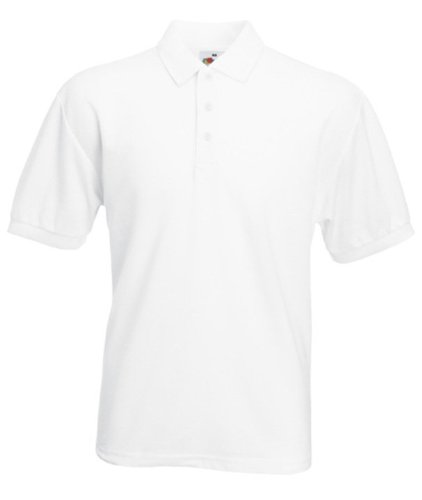 Fruit of the loom mens Taped neckline 65-35 Polo t-shirt - XXX-Large - White