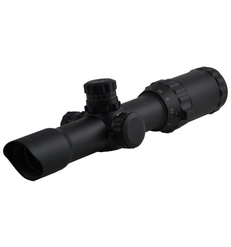 """Sniper Scope 1-4X28 Compact 5"""" Eye Relief Qta W/E Side Wheel Red/Green/Blue Illumination Etched Mil-Dot Glass Reticle With Ring"""