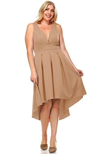 Zoozie LA Women's Plus Size Pleated Midi Cocktail Dress