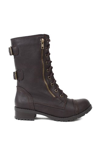 Soda Dome-SA Leatherette Mid-Calf Buckled Zipper Military Combat Boot - Dark Brown PU