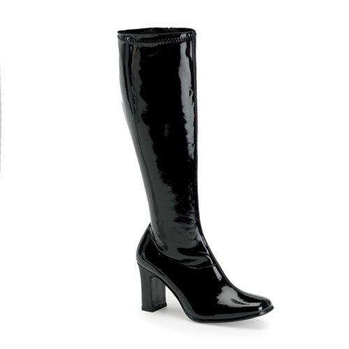 Womens Retro Boots 3 1/4 Inch Sexy Black Patent Stretch Go Go Boot Hippie Costume Accessory