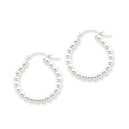 Silver, 3mm Beaded Hoop Earrings - 22mm (7/8