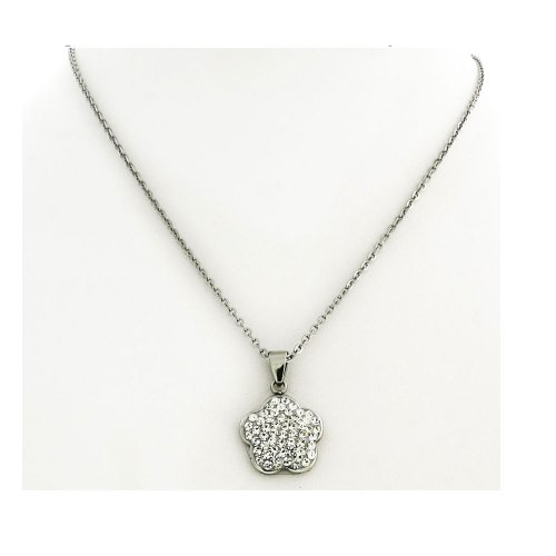 Pink Crystal Silver Tone Stainless Steel Charm Pendant with Chain