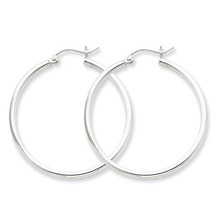 2mm, Silver, Classic Hoop Earrings - 45mm (1-3/4