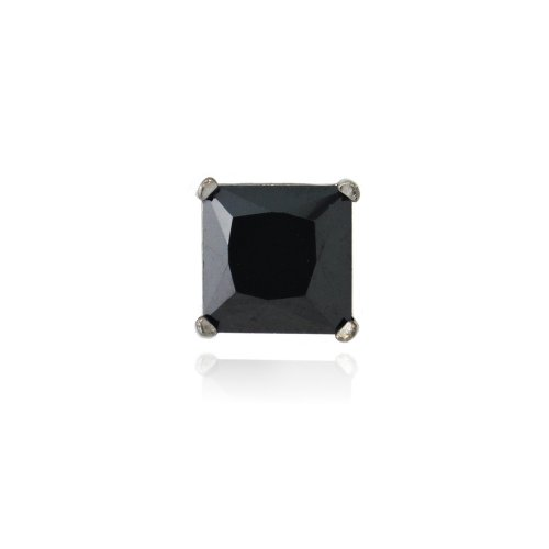 Black Rhodium Overlay Sterling Silver Black CZ 6mm Square Men's Stud Earring