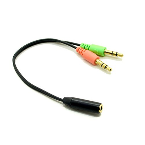 Standard 3.5Mm Headset To Pc Computer Audio Microphone Output Y Adapter Cable Cord