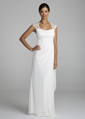 Lace Cap Sleeve Long Matte Jersey Wedding Dress Ivory