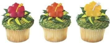 24 pc - Beautiful Hawaiian Hibiscus Flower Cupcake Rings