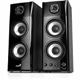 Genius 31730908102 - SP-HF1800A - wood 50W three-way Hi-Fi 2 channel speakers. Finished in a burnished black wood includes adjustable Volume; Bass and Treble controls. Supplied by Hypertec. (1Year warranty)