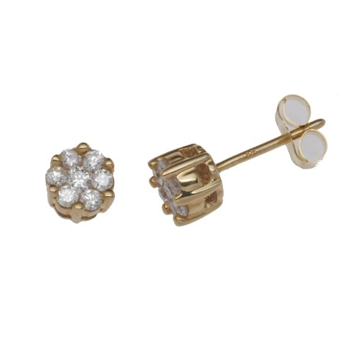 9ct Yellow Gold Diamond Invisible Set 0.25 Earrings