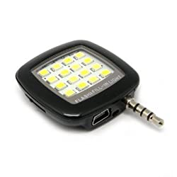 Pop-Tech Black Mini Spotlight Smartphone LED Flash and Fill-Light For Apple iPhone 6 5 4 and iPad Mini 2 3 4 Air 2, LED light Speedlite for iPad and Android Devices