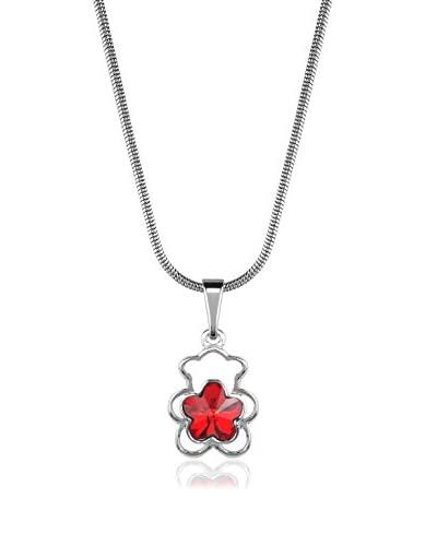 Absolute Crystals Conjunto de cadena y colgante Flower Bear Plateado / Rojo