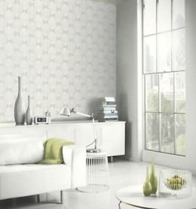 Arthouse Retro Leaf Wallpaper - Silver by New A-Brend