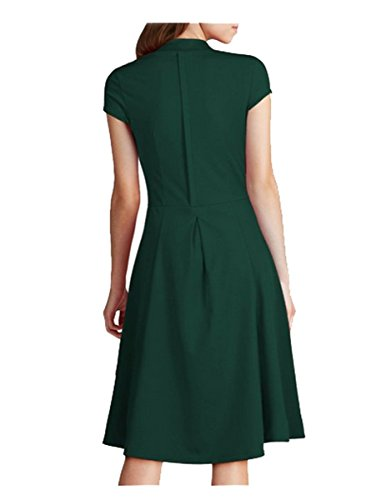 FORTRIC Women Deep V Neck Elegant Vintage Party Cocktail Wedding Casual Dress (L, Green)