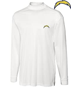 San Diego Chargers Mock Turtleneck Mens Drytec Imperial Mock White by Cutter & Buck