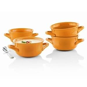 Set of 4 Fireside Soup Bowl with Handles- Orange Color