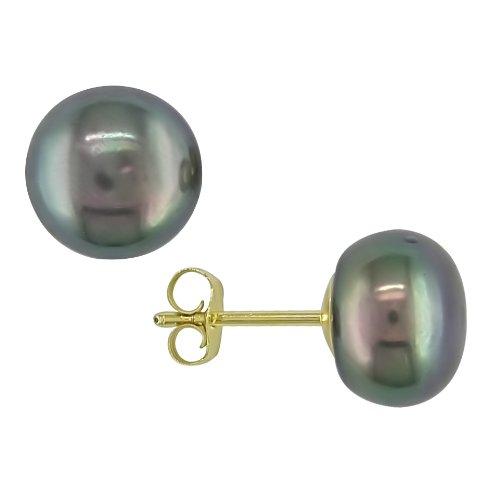 9-10 mm Black Freshwater Pearl Earrings in 10k Yellow Gold