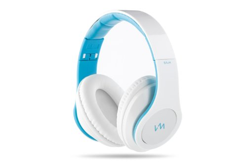 Vm Audio Elux Over Ear Dj Stereo Mp3 Iphone Bass Headphones - Piano White/Blue