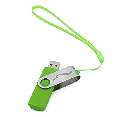 Techkey OTG USB Flash Drive for Cell Phones,Tablets and PCs,Key Chain Included,Galaxy Series,16GB,Green
