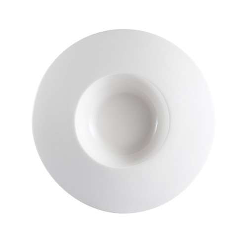 Cac China Ps-109 7-Ounce Porcelain Round Bowl With Wide Draping Rim, 9 By 1-1/2-Inch, Super White, Box Of 24