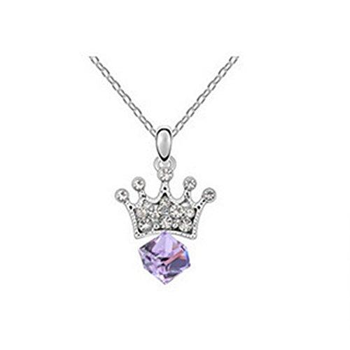 [Dasion Crystal Crown Princess Lover Edition Fashion Lady Sautoir Necklace(Purple)] (Invisible Man Costume Diy)