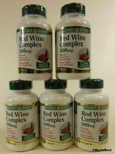 Red Wine Complex 500 Mg Natural Source Of Resvratrol 5-Pack 60 Caps Per Bottle Without The Alcohol Or Calories Of Red Wine! Natural Source Of Resvratrol - Total Of 300 Capsules