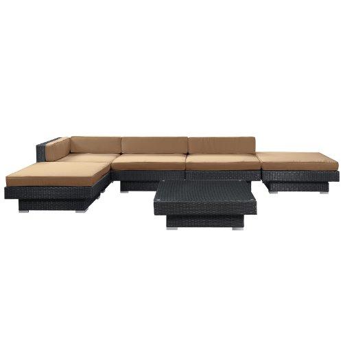 LexMod Laguna Outdoor Wicker Patio 6 Piece Sectional Sofa Set In Espresso with Mocha Cushions