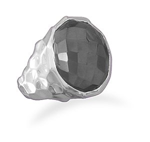 Sterling Silver Round Faceted Hematite Hammered Ring / Size 7