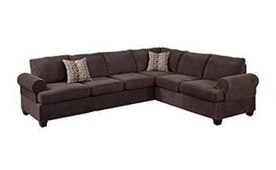 Poundex Bobkona Salerno Velvet Left or Right Hand Reversible Sectional Sofa, Coffee