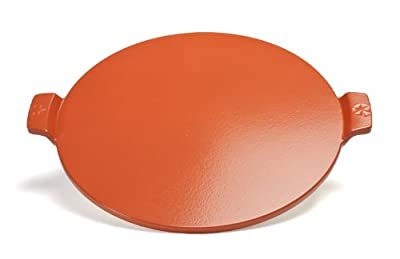 Pizzacraft 14.5? Round Glazed Pizza Grilling Stone with Handles -