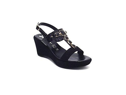 Susimoda scarpa donna, modello sandalo 256395, in camoscio e vernice, colore nero