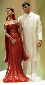 Weddingstar Indian Bride In Embroidered Red Dress Mix & Match Cake Topper