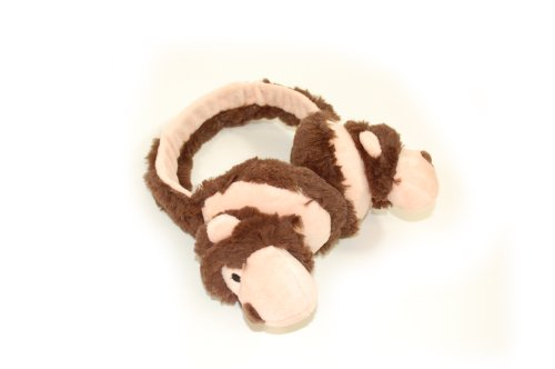 Super childrens adjustable feather edge fur fabric ear muffs. Available in 3 designs; Lion, Monkey and Giraffe. Ideal for keeping little ears warm in cold weather. Perfect stocking filler or Christmas gift. (Brown monkey) image