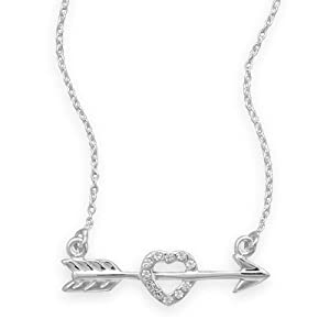 "16"" Arrow with CZ Heart Necklace Silvertone"