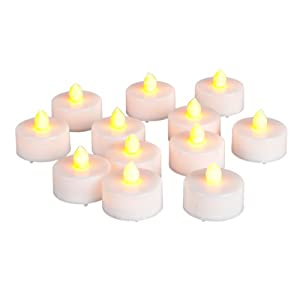 Everlasting Tealights Battery-Operated Flamess Candles with Soft Flicker, 12-Pack