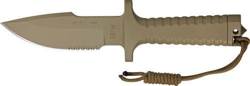 Rpw X46Ir5S Small Part Serrated Bowie Model X-46 Utility Survival Fixed Blade Knife With Tan Pommel & Tan Cerakote Finish Fluted Oval Hollow Handles