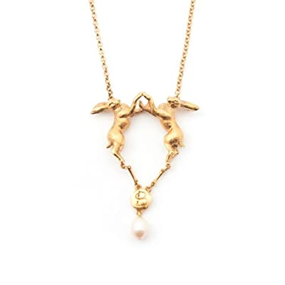 Double Hare and Freshwater Pearl Necklace by Bill Skinner