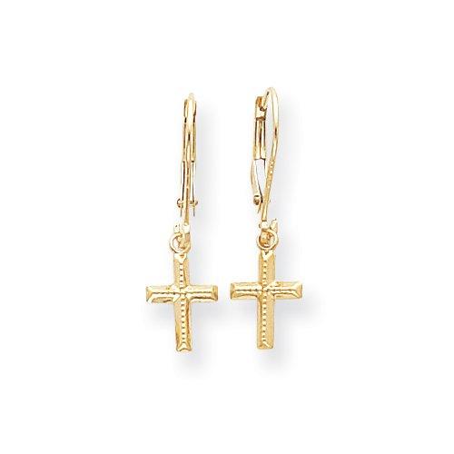 14k Cross Dangle Earrings