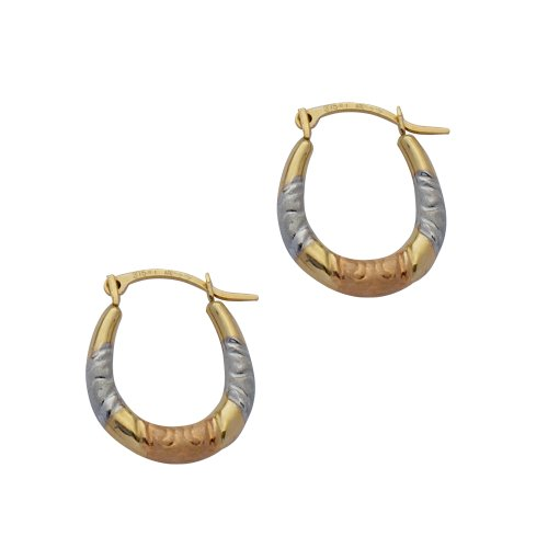 9ct Gold Three-Colour Creole Earrings