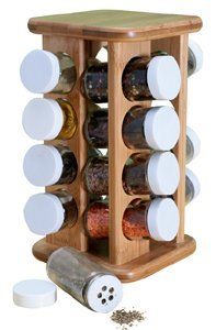 Natural Living Bamboo Spice Rack with Jars
